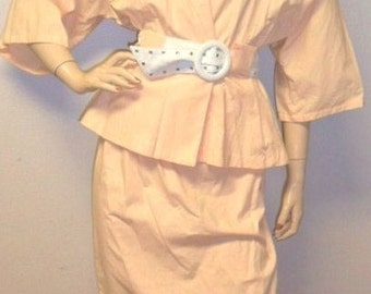 Vintage  80's 2 Piece Peach Outfit Peplum Top-Skirt Sz -M
