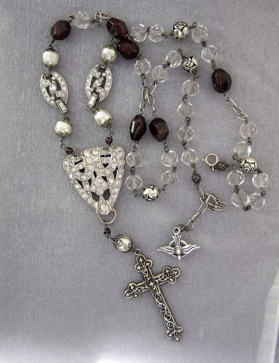 Repurposed Sterling Silver Cross Necklace, Religious Necklace,  Rhinestones Art Deco, Rosary Beads, Garnets OOAK Assemblage Jewelry