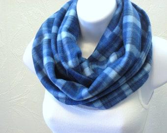 Fleece Circle Scarf in Royal Baby Blue Plaid Unisex Infinity Neck Scarf Handmade Winter Fashion