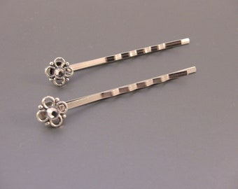 Silver Flower & Clear Crystal Bobby Pins