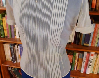 Delicate and So Feminine--1950s Sheer Nylon Blouse with Pintuck Detailing and Rhinestone Buttons--S,M