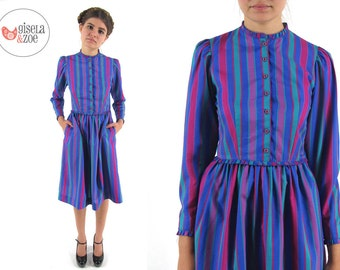 Vintage 70s Dress / Striped Dress / Vintage Lanz Dress . xs sm