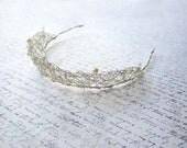 Silver Wire Tiara, White Pearl Tiara, Bridal Head Piece, Bridal Hair Accessory, Swarovski Tiara, Swedish Wedding, Made in Sweden
