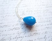Blue Jade Teardrop Necklace, Blue Jade Necklace, Swedish Jewelry, Made in Sweden, Scandinavian Jewelry Design