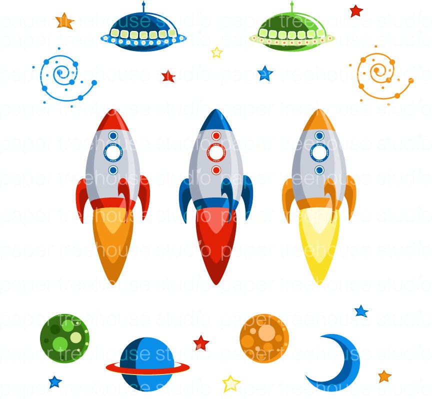 Clip Art Set Rocket Ships Outer Space by papertreehousestudio