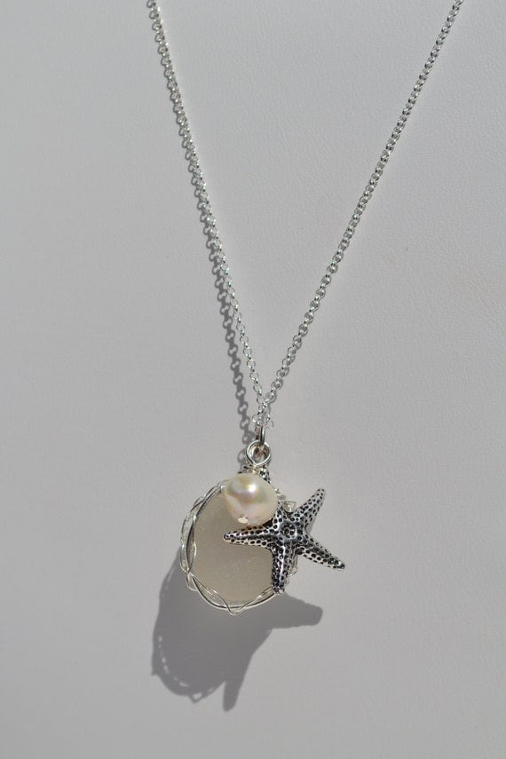 White Genuine Sea Glass Hand Knitted Fine Silver Wire Pendant with Sterling silver Chain and Starfish