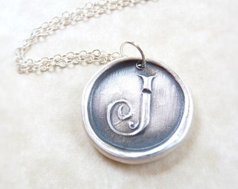 Wax seal letter monogram pendant necklace hand made from recycled silver, in letter J