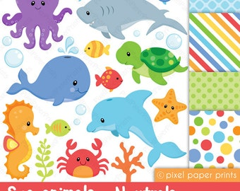 Sea animals clipart - Sea animals NEUTRALS - Clip art and digital paper set