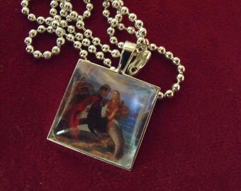 Silver Pendant Necklace,  Vintage Mermaid and Pirate Image Necklace,  Womens Gift   Handmade