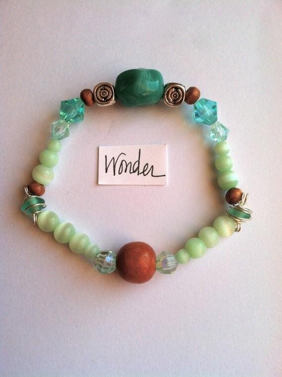 Wonder bracelet Turquoise Silver Brown Green Wooden Beaded Preppy Boho Hippie Modern Indian Jewelry