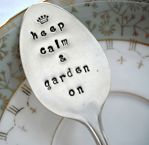 Vintage Silver Plated Hand Stamped Garden Marker - keep calm and garden on