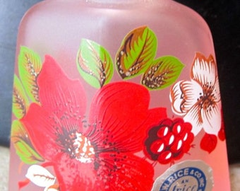 Vintage bottle glass small vase I W Rice pink and red flowers Japan gift collectible decor decorative romantic