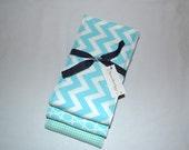 Baby Boutique Burp Cloths - Baby Cloth Set - Sweet Charmer - Aqua Blue