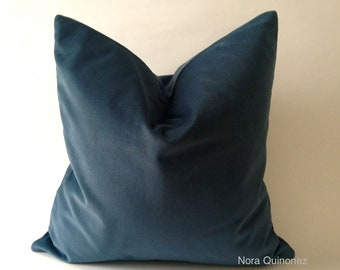 Teal Blue Cotton Velvet Pillow Cover - Decorative Accent Throw Pillows - Invisible Zipper Closure - Knife Or Pipping Edge -16x16 to 26x26
