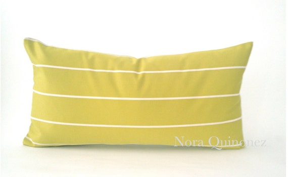 10x20 Chartreuse and White Striped Decorative Pillow Cover -Medium Weight Woven Cotton - Invisible Zipper Closure- Cushion Cover
