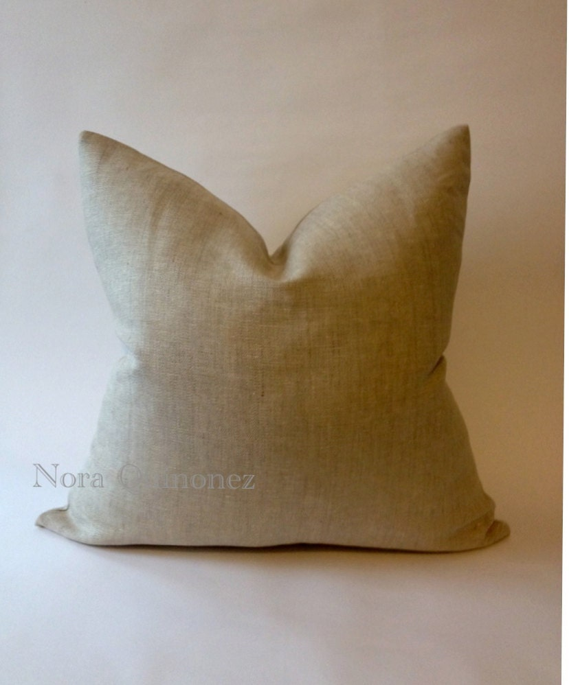 Decorative Linen Throw Pillow Cover Invisible Zipper