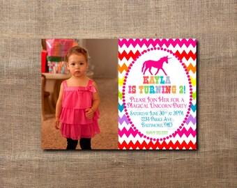 Rainbow Unicorn Birthday Party Custom Printable Photo Invitation