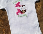 Look Whoo's 1 birthday bodysuit with owl and name