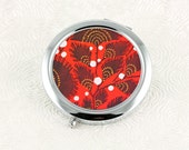 Floral Pocket Mirror, Retro Compact Mirror, Art Deco Red, Gift Idea for Women