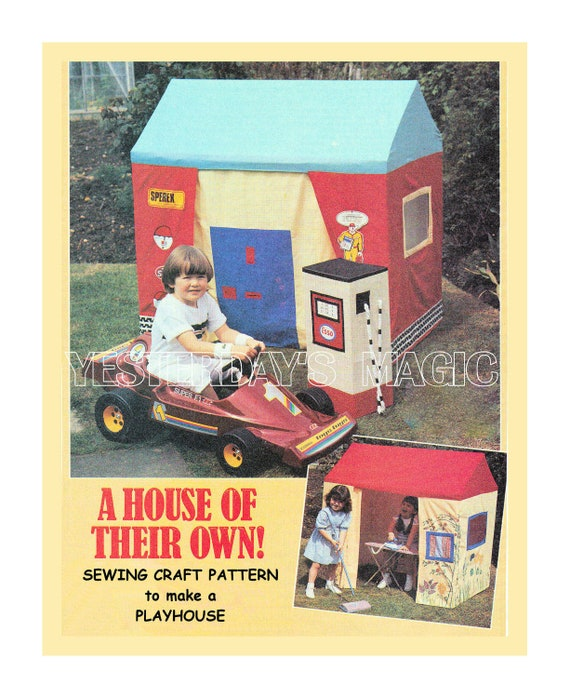 Instant Download PDF Sewing & Woodcraft Tutorial Pattern to make a Playhouse Wendy House Garage Tent Garden Toy Make Believe Role Play