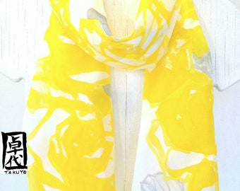 Silk Scarf Handpainted, Yellow Floral Scarf, Sweet Yellow Rose, Yellow Silk Scarf, Takuyo, 11x60 inch, Made to order.