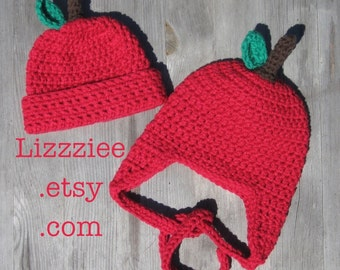 Apple Hat Pattern - Easy crochet hat PDF - Instructions to make earflaps and beanies in 6 sizes, newborn to adult - Instant Digital Download