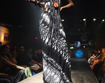 SALE Fierce Feathers Halter Column Gown