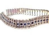 Vintage Diamonbar Bracelet Sapphire Clear Rhinestones Art Deco Sterling Silver 1920s