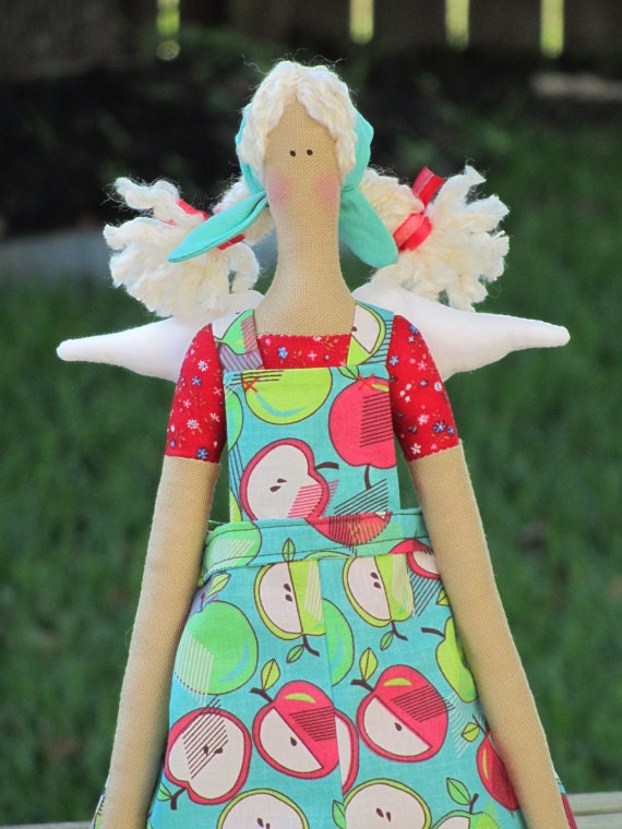 Lovely fabric doll- handmade cloth doll, art doll - blonde in blue green red apple clothing,stuffed doll Angel doll-gift  for girls and mom