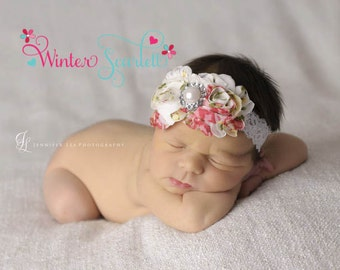 10% off entire order.. Baby headbands...Floral rosette rhinestone flower's on lace headband, newborn headbands, infant, toddler, adult