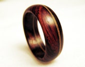 Wood Band Ring - Offset Mahogany Veneer Within Cocobolo