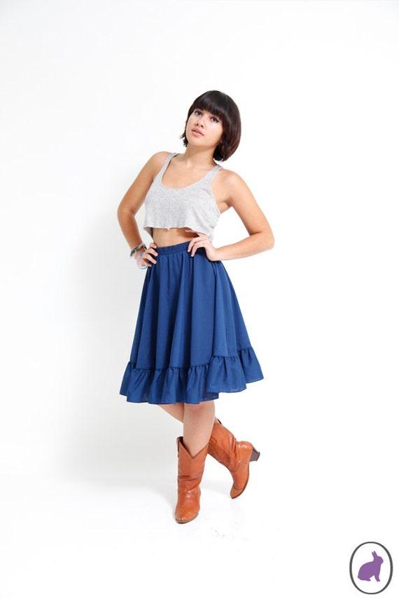 Vintage 70s Navy Blue Boho Ruffle Skirt - Full Cirle Skirt - Size US Medium Large