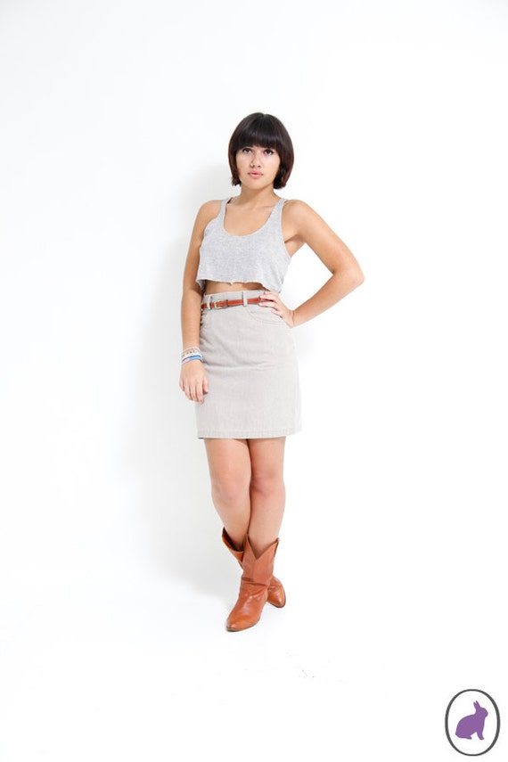 Vintage 90s Tan Denim Mini Skirt - Tight Fitted Grunge Pencil Skirt - High Waisted Early 90s Skirt - Size Small