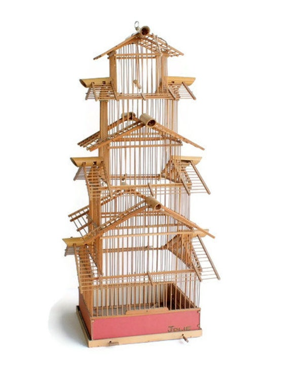 Vintage Bamboo Bird Cage by FlumeStreet on Etsy