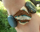 Bead Woven Animal Print Bracelet in Blue & Brown with Toggle