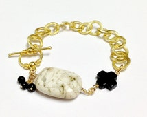 Opal Bracelet - African Opal Gemstone - Black Onyx Jewellery - Celtic Cross - Vermeil - Gold Chain Jewelry - Eclectic