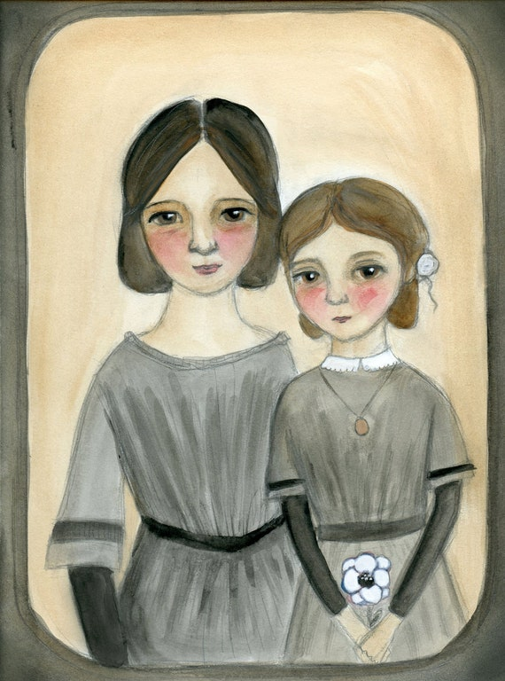 Sisters Art Print - Victorian Goth Sisters, Orphan Girls,  Portrait Painting Illustration (6 x 8)