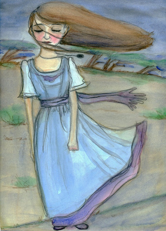 The Calm Before the Storm, Edwardian Inspired Stormy Weather (6x8) Art Print, inspirational art, Girl Power