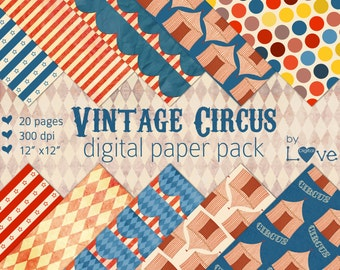 Vintage Circus Carnival Digital Paper Pack 20 Pages Instant Download