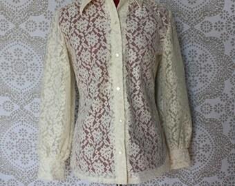 Vintage 1970's Cream Lace Button Down Shirt M/L
