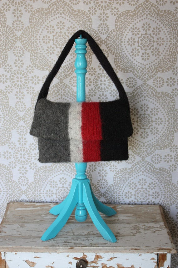 Vintage Black Red and Gray Wool Purse
