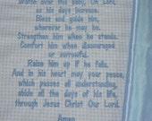 Embroidered Baby Blanket ~  Blessings Prayer for BOYS~ customized baby keepsake, personalized Christian gift, christening blanket