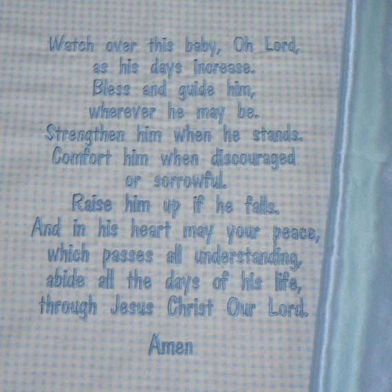Embroidered Baby Blanket Blessings Prayer For Boys