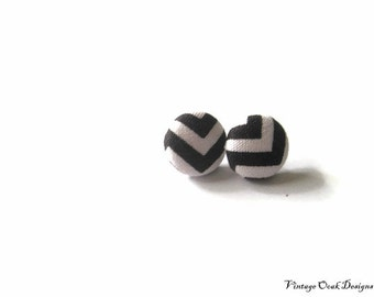 Button Earrings, Button Studs, Fabric Button Earings, Chevron Studs,Black & White Chevron, Bridesmaid Studs,Summer Fashion
