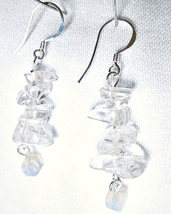 Quartz Crystal Earrings Chips and Moonstone Cubes Beads   ID 219