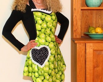 Full Apron, Womens Green Apples Apron, Vintage Womens Swing Apron