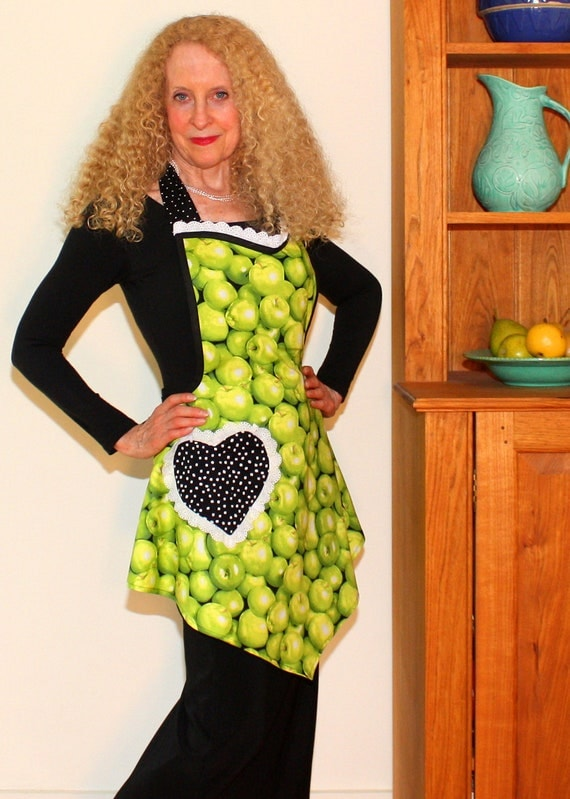 Full Apron, Womens Green Apples Apron, Vintage Womens Swing Apron