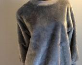 1970s Silver Velour Sweatshirt // SIZE M