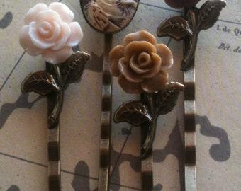 Accessories, Bobby Pins, Cameo Bobby Pin, Flower Hair Pins, Floral Pins, Cabochon Hair Pins