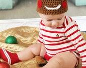 Gingerbread Man Hat Crochet Christmas Holiday Beanie Newborn Photo Prop Cinnamon Spice Sizes 0-3 Months 3-6 Months 6-12 Months